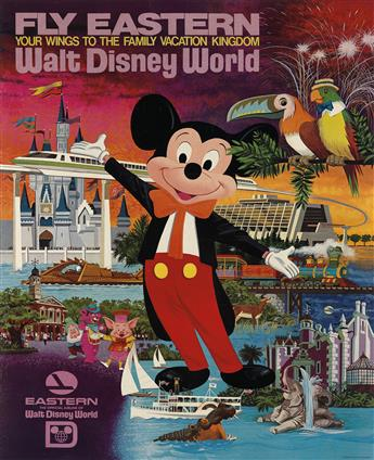 DESIGNER UNKNOWN. FLY EASTERN / YOUR WINGS TO THE FAMILY VACATION KINGDOM / WALT DISNEY WORLD. Circa 1980s. 40x30 inches, 101x76 cm.