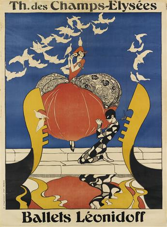 DESIGNER UNKNOWN. BALLETS LÉONIDOFF. 1922. 62x46 inches, 158x118 cm. H. Chachoin, Paris.
