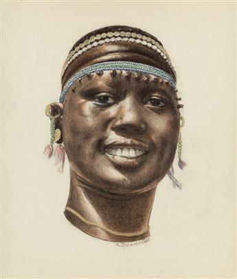AARON DOUGLAS (1899 - 1979) Head of a Masai Woman.