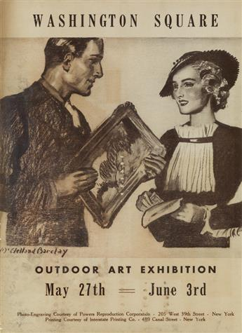 MCCLELLAND BARCLAY (1891-1943) & DON FREEMAN (1908-1978). WASHINGTON SQUARE / OUTDOOR ART EXHIBITION. Two posters. 1933-34. Each 14x10