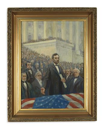 (PAINTINGS.) Harper, F.R. Portrait of Lincoln delivering his first inaugural address.