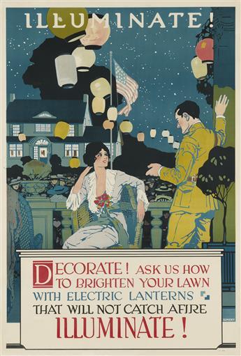 KEMENY (DATES UNKNOWN). ILLUMINATE! DECORATE! Circa 1920s. 41x28 inches, 190x71 cm.