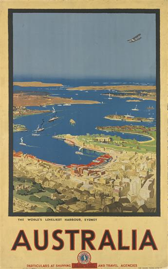 ALBERT COLLINS (1883-1951). AUSTRALIA / THE WORLDS LOVELIEST HARBOUR, SYDNEY. 1930. 39x24 inches, 100x63 cm. The Moore Young Litho Co.