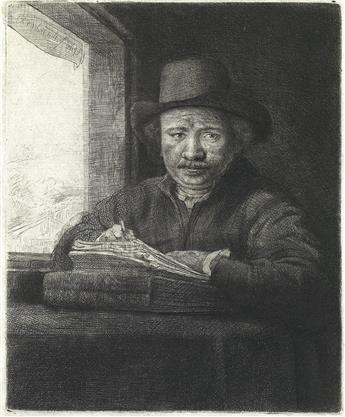 REMBRANDT VAN RIJN Self Portrait Drawing at a Window.