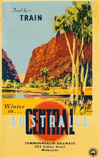 JAMES NORTHFIELD (1887-1973). TRAVEL BY - TRAIN / WINTER IN CENTRAL AUSTRALIA. Circa 1950s. 40x24 inches, 101x63 cm. A.C. Brooks, Gover