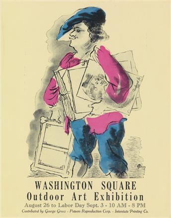 GEORGE GROSZ (1893-1959). WASHINGTON SQUARE / OUTDOOR ART EXHIBITION. 1934. 14x10 inches, 35x27 cm. Interstate Printing Company, New Y