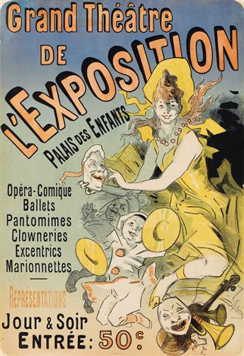 JULES CHÉRET (1836-1932). GRAND THÉÂTRE DE LEXPOSITION / PALAIS DES ENFANTS. 1889. 21x14 inches, 54x36 cm. [Chaix, Paris.]