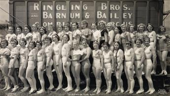 KELTY, EDWARD J. (1888-1967) Group of 3 panoramic photographs of ladies of the circus,
