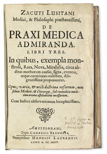 ZACUTUS, ABRAHAM. De praxi medica admiranda libri tres.  1634