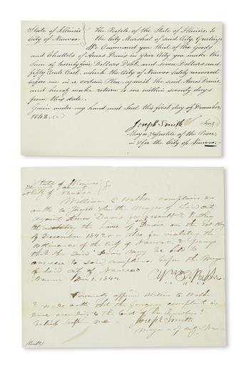 (MORMONS.) Smith, Joseph. A pair of legal documents signed by Joseph Smith in cases against the Nauvoo postmaster.