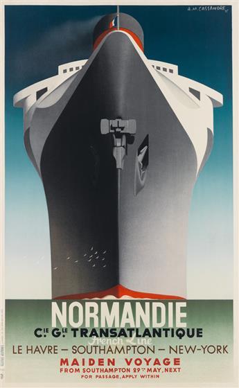 ADOLPHE MOURON CASSANDRE (1901-1968). NORMANDIE / MAIDEN VOYAGE. 1935. 39x24 inches, 99x62 cm. Alliance Graphique L. Danel, Paris.
