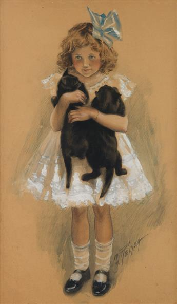 CHARLES M. RELYEA. Girl with 2 Black Kittens.