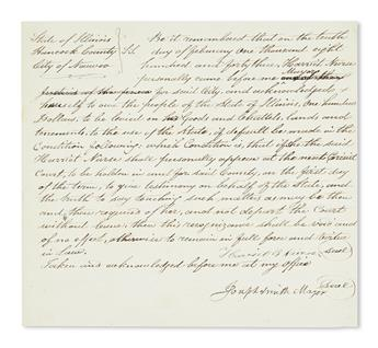 (MORMONS.) Smith, Joseph. Recognizance document for a woman to appear in court, or pay $100.