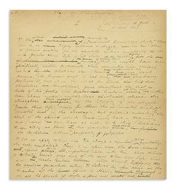 HUNEKER, JAMES GIBBONS. Autograph Manuscript Signed, James Huneker, working draft for an essay on Heinrik Ibsen entitled Ibsen the I