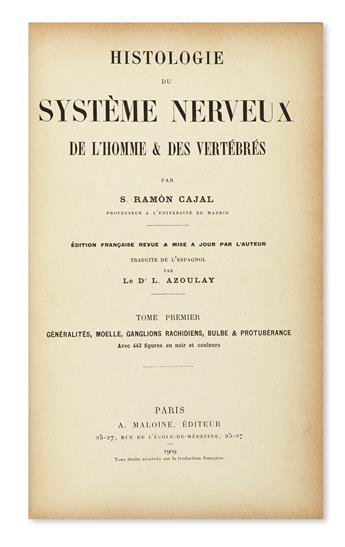 RAMÓN Y CAJAL, SANTIAGO. Histologie du Système Nerveux de l'Homme & des Vertèbres.  2 vols. in 4.  1909