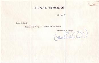STOKOWSKI, LEOPOLD. Brief Typed Letter Signed, to Dear friend: