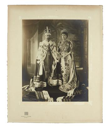 GEORGE V; AND MARY; KING AND QUEEN OF THE UK. Large Photograph Signed, by both (GeorgeR.I. and Mary R), gelatin silver print of a f