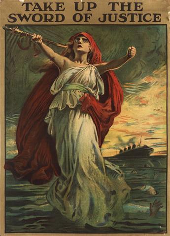 SIR BERNARD PARTRIDGE (1861-1945). TAKE UP THE SWORD OF JUSTICE. Circa 1914. 27x20 inches, 70x50 cm. David Allen & Sons, Ld., Harrow.