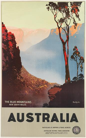 JAMES NORTHFIELD (1887-1973). AUSTRALIA / THE BLUE MOUNTAINS. Circa 1930s. 39x25 inches, 101x63 cm. F.W. Niven Ltd., Melbourne.
