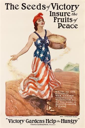 JAMES MONTGOMERY FLAGG (1870-1960). THE SEEDS OF VICTORY INSURE THE FRUITS OF PEACE. 1918. 32x22 inches, 83x56 cm.