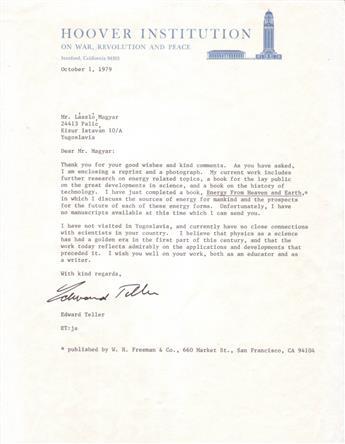 (SCIENTISTS.) TELLER, EDWARD. Typed Letter Signed, to László Magyar,