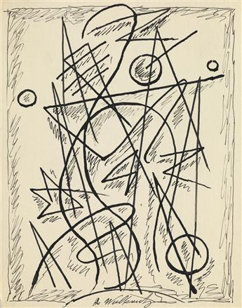 ABRAHAM WALKOWITZ Three abstract ink drawings.
