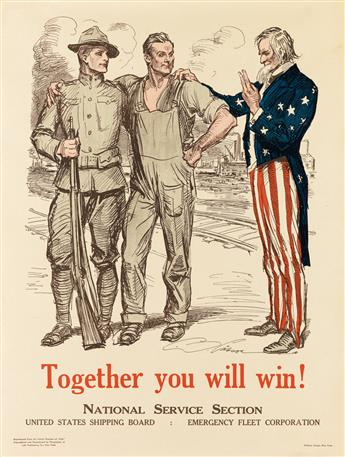 CHARLES DANA GIBSON (1867-1944). TOGETHER YOU WILL WIN! Circa 1918. 25x19 inches, 63x48 cm. William Green, New York.