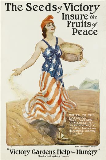 JAMES MONTGOMERY FLAGG (1870-1960). SOW THE SEEDS OF VICTORY / INSURE THE FRUITS OF PEACE. 1918. 33x22 inches, 83x56 cm.