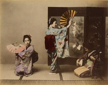 (JAPAN) Elegant album with 48 hand-colored photographs of Yokohama, Tokyo, Nagasaki, Kyoto, and more.