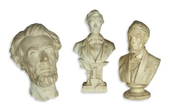 (SCULPTURE.) Group of 3 Lincoln busts.