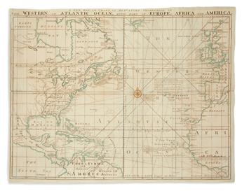 BEW, JOHN. A New Map or Chart in Mercators Projection of the Western or Atlantic Ocean, with Part of Europe, Africa and America.