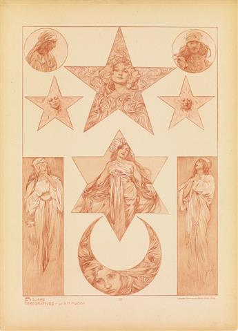 ALPHONSE MUCHA (1860-1939). FIGURES DÉCORATIVES. Group of 5 plates. 1905. Each 18x13 inches, 45x33 cm. Emile Levy, Paris.