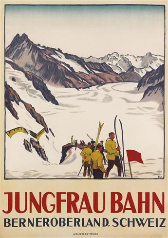 EMIL CARDINAUX (1877-1936). JUNGFRAU BAHN / BERNEROBERLAND, SCHWEIZ. 1919. 49x35 inches, 125x89 cm. Wolfsberg, Zurich.