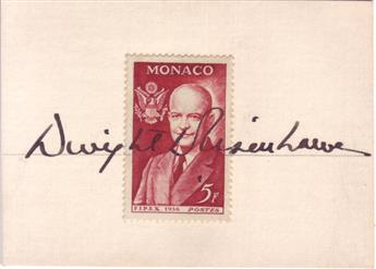 EISENHOWER, DWIGHT D. Signature, as President, written on a small card across a 5-franc postage stamp from Monaco showing the bust of E