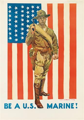 JAMES MONTGOMERY FLAGG (1870-1960). BE A U.S. MARINE! Circa 1918. 40x28 inches, 101x71 cm.