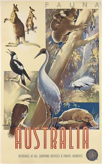 JAMES NORTHFIELD (1887-1973). AUSTRALIA / FAUNA. 40x24 inches, 101x63 cm.