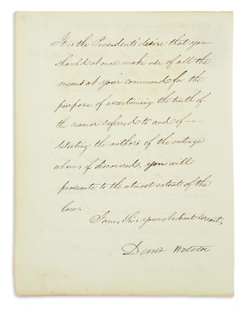 DANIEL WEBSTER. Letter Signed, Danl Webster, as Secretary of State, to U.S. Attorney for the Northern District of New...