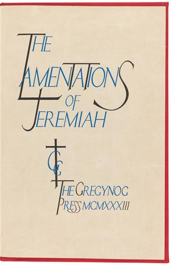 (GREGYNOG PRESS.) Prospectus for The Lamentations of Jeremiah.
