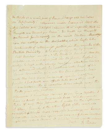 BUONAPARTES DISASTERS PRODUCE A VISIBLE EFFECT HERE DANIEL WEBSTER. Autograph Letter Signed, D. Webster,...