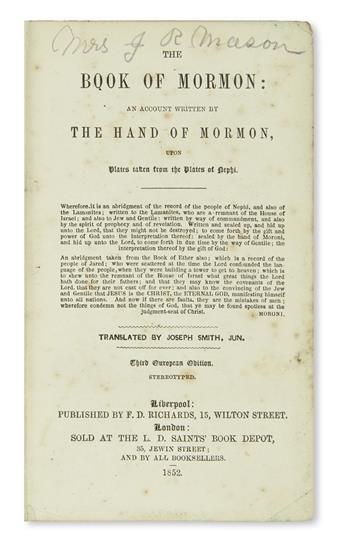 (MORMONS.) Smith, Joseph; translator. Book of Mormon: An Account Written by the Hand of Mormon,