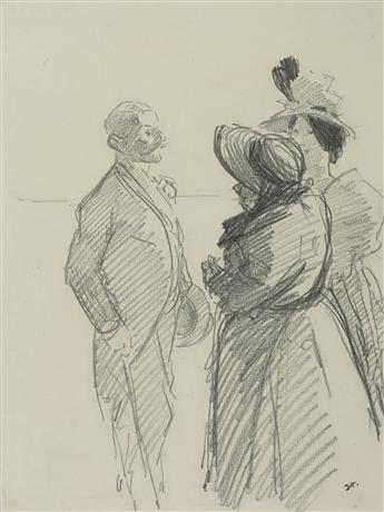 THÉOPHILE-ALEXANDRE STEINLEN (Lausanne 1859-1923 Paris) Figures in Conversation, a Man and Two Women.
