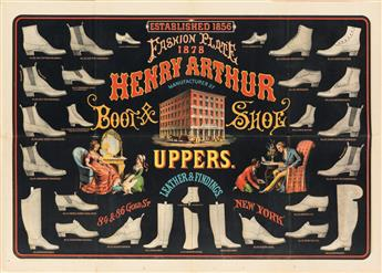 DESIGNER UNKNOWN. HENRY ARTHUR / FASHION PLATE / BOOT & SHOE UPPERS. 1878. 19x26 inches, 48x67 cm.