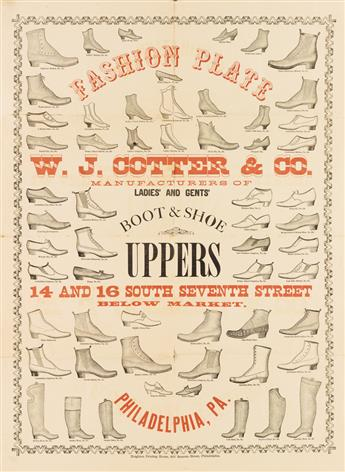 DESIGNERS UNKNOWN. [BOOT & SHOEMAKER FASHION PLATES.] Group of 4 posters. Circa 1870s. Sizes vary.