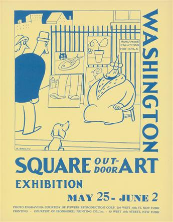 OTTO SOGLOW (1900-1975). WASHINGTON SQUARE / OUTDOOR ART EXHIBITION. 1935. 14x11 inches, 35x28 cm. Irons-Snell Printing Co., New York.