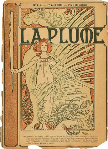 ALPHONSE MUCHA (1860-1939). LA PLUME. Magazine, April 1, 1898. 10x7 inches, 25x19 cm. Imprimerie de Vaugirard, Paris.