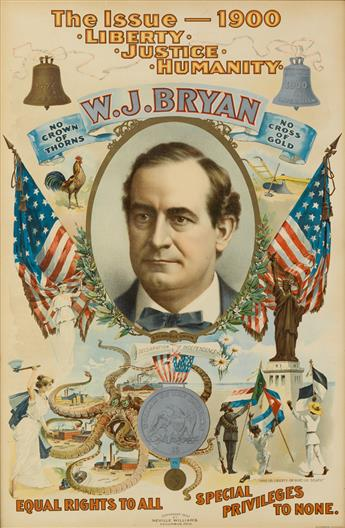 NEVILLE WILLIAMS (DATES UNKNOWN). W.J. BRYAN. 1900. 29x19 inches, 75x49 cm. The Strobridge Litho Co., Chicago.