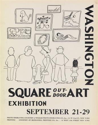 JAMES THURBER (1894-1961). WASHINGTON SQUARE / OUTDOOR ART EXHIBITION. 1935. 14x11 inches, 35x28 cm. Irons-Snell Printing Co., New York