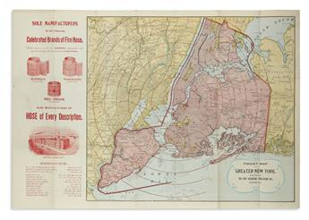 (NEW YORK CITY.) Eureka Fire Hose Co. Pocket Map of Greater New York.
