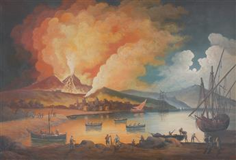 NEAPOLITAN SCHOOL, 19TH CENTURY A View of the Bay of Naples with the Eruption of Mount Vesuvius.