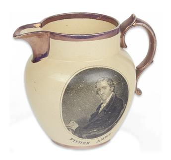 (WASHINGTON, GEORGE.) Pitcher depicting notable Federalist Congressman Fisher Ames.